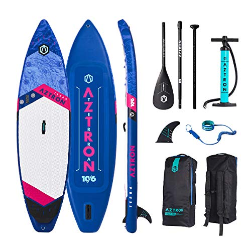 "Aztron Terra Inflatable Stand Up Paddle Board SUP Touring 10'6"" Double Chamber, Double Layer with Adjustable Aluminum P"