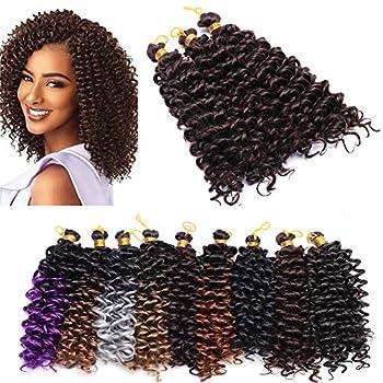 Marlybob Crochet Braids Hair Extension 8 inch Deep Water Wave Braiding Hair Kinky Curly Afro Jerry Curl Marley Bob Crochet Hair 2 pack/6 bundles 180G Wine Red