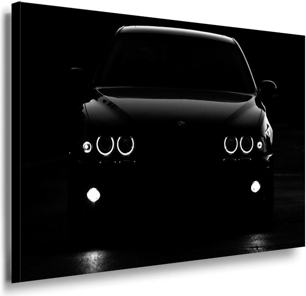 BMW Nacht Leinwandbild / LaraArt Bilder / Leinwand Bild + Mehrfarbig + Kunstdruck a19-3 Wandbild 70 x 50 cm