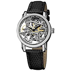 top 10 akribos xxiv watch Women's Automatic Skeleton Watch Akribos XXIV – Stainless Steel Dial and Leather…