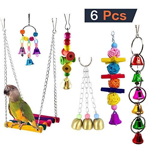 FZQ Vogel Papegaai Speelgoed 6 Stuk Set Kleurrijke Vogelkooi Decoratie Set Bell Swing Bite Speelgoed Touw Geschikt voor Kleine en Middelgrote Vogels