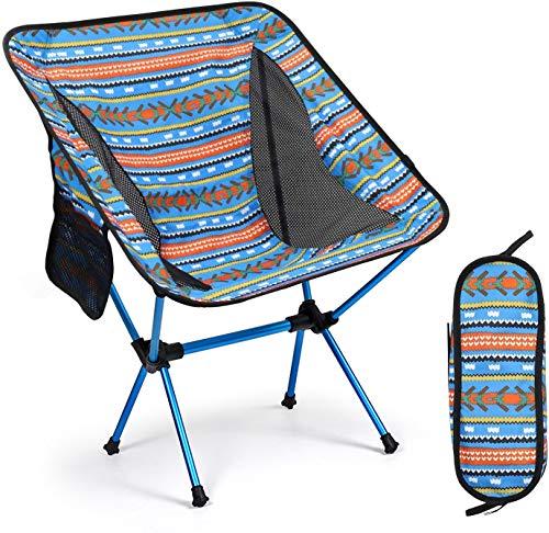 Sillas de camping plegables portátiles ultraligeras, compactas para acampar al aire libre, viajes, playa, picnic, festival, senderismo, mochila ligera (azul)