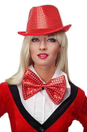 Dress Me Up - VQ-029-red Fliege Clownfliege Clown groß Bowtie rot Glitzer Pailletten Riesenfliege