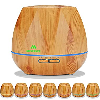 Miserwe Essential Oil Diffuser 550ML Aromatherapy Diffuser with Adjustable Mist Mode and 4 Timer Setting Oil Diffuser Waterless Auto Shut-off with 7 LED light for Home Office Yoga Spa