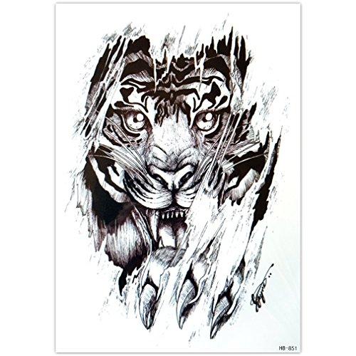 EROSPA® Tattoo-Bogen temporär - Aufkleber Tigerkopf - 21 x 15 cm