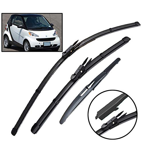 Xukey - Set di 3 spazzole tergicristallo anteriori e posteriori per ForTwo W451 Coupe 2007-2014 (set da 3)