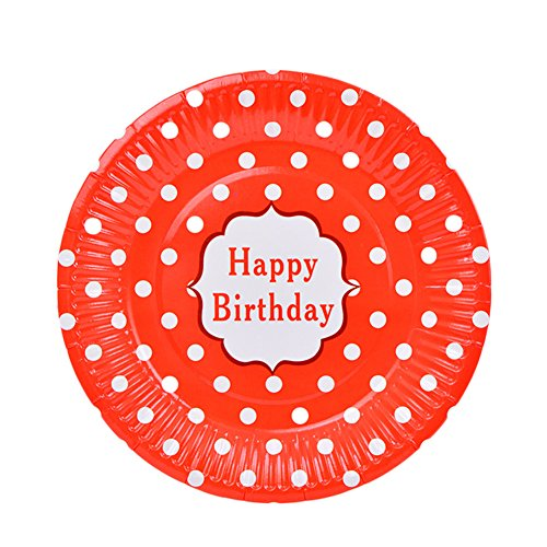 CAOLATOR Assiettes Jetable Polka Dot Papier Assiettes Fête d'anniversaire 6 Pièces Rouge