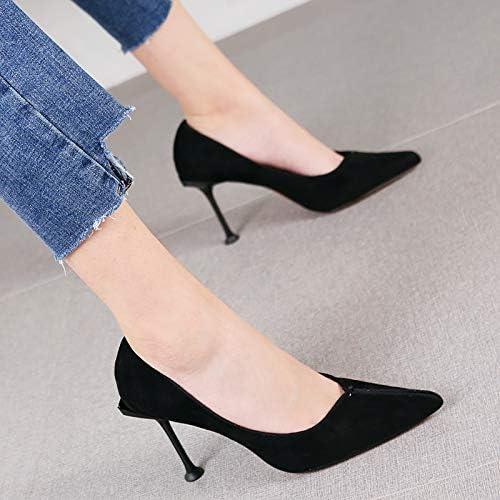 HRCxue zapatos de la Corte Moda Puntiagudo Temperamento Tacones de tacón de Aguja de Las mujeres Salvajes de la Boca Baja Solo zapatos Sexy zapatos de Boda rojos, 36, negro
