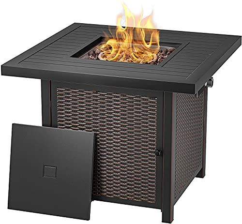 Propane Fire Pit Table, 28 inch 50,000 BTU Auto-Ignition Gas Fire Pit Table, Outdoor Rattan & Wicker-Look Square Fire Table with Lid, ETL Approved, for Outside Patio, Garden, Backyard - GFP01T