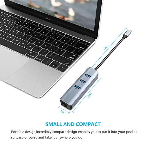 ABLEWE USB C Ethernet Hub, 4 in 1 USB C zu Ethernet Adapter 3 USB 3.0-Ports mit RJ45 Gigabit Ethernet LAN Netzwerk Adapter für MacBook, MacBook Pro, Chromebook Pixel, Laptop und mehr Geräte