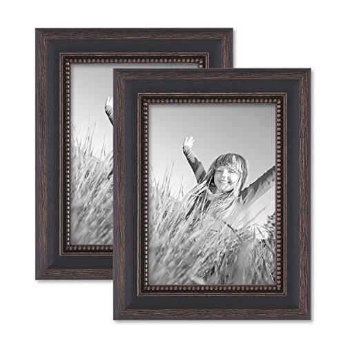 PHOTOLINI 2er Set Bilderrahmen 13x18 cm Shabby-Chic Landhaus-Stil Dunkelbraun Massivholz mit Glasscheibe und Zubehör/Fotorahmen