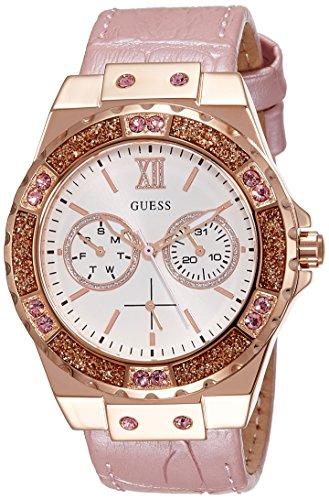 Guess Dames analoog kwarts horloge met lederen armband W0775L3