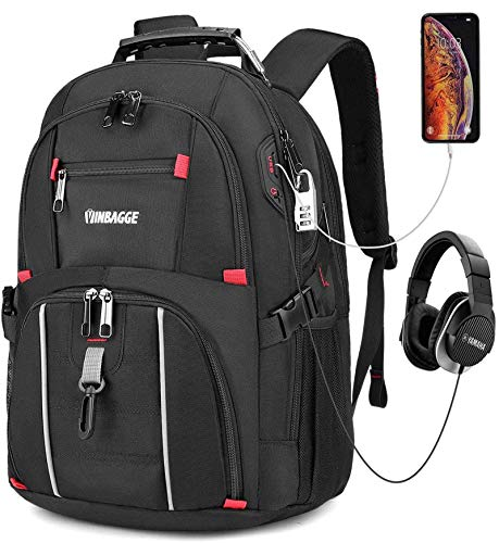 VINBAGGE Laptop Rucksack Herren 15,6 Zoll Wasserdicht Schulrucksack Jungen Teenager Business Rucksack Backpack Für Männer Mädchen Arbeit Büro