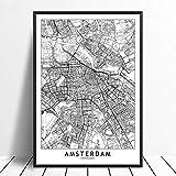 Leinwandbilder Bild,Amsterdam Stadt Karte Drucken Moderne