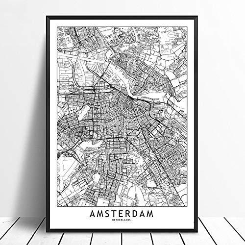 SERTHNY kunstdruk op canvas, Amsterdam wit zwart Custom World City Map Poster, druk Nordic stijl muur Foto Home Decor Canvas 20×30cm (7.87×11.81inch)no frame