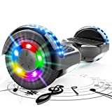 HITWAY Self Balancing Scooter 6,5 ', Hoverboards Elektro Scooter mit Bluetooth-Musiklautsprecher, Smart Buntes Blitzrad, bürstenloser Motor, Geschenk für Kinder