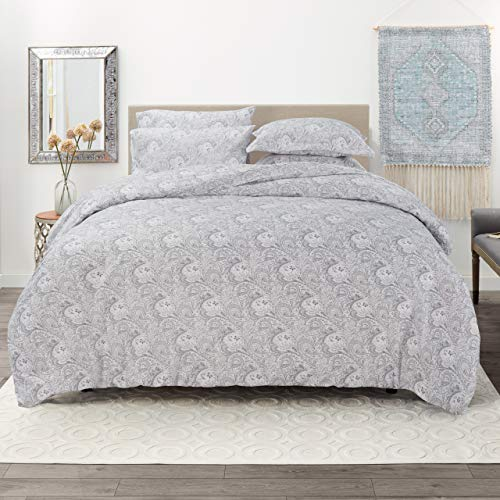 """Nestl Duvet Cover 5 Piece Set – Ultra Soft Double Brushed Microfiber Bedding – Paisley Design Comforter Cover, 2 Pillow Shams and 2 Pillowcases - King/Cal King 104"""" x 90"""" - Green"""