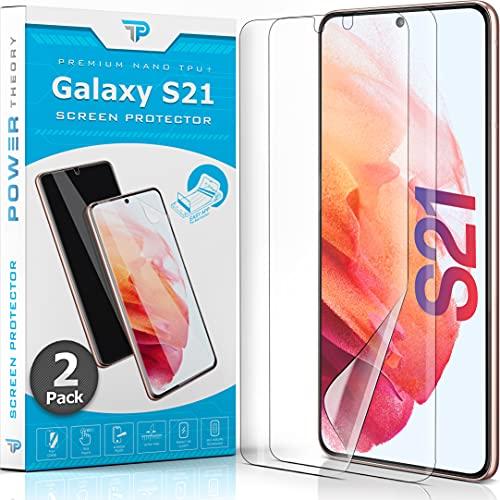 Power Theory Schutzfolie für Samsung Galaxy S21 [2 Stück] - [KEIN Glas] 3D Nano-Tech Panzerglasfolie, Panzerglas Folie, 100% Fingerabdrucksensor, Einfache Installation, Displayschutz Panzerfolie