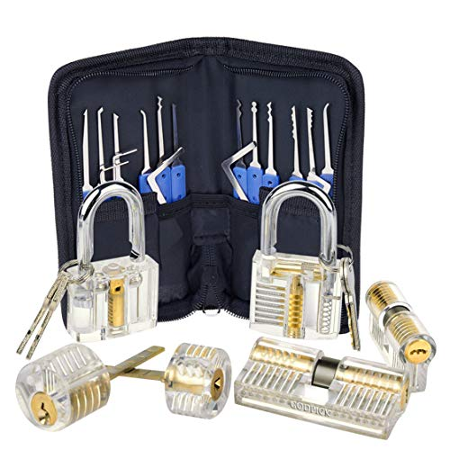 Godpick, Lock-Picking-Trainingsschlößer, transparent, Kristallpin-Schloss, kodiertes Vorhängeschloss, 6 Schlösser