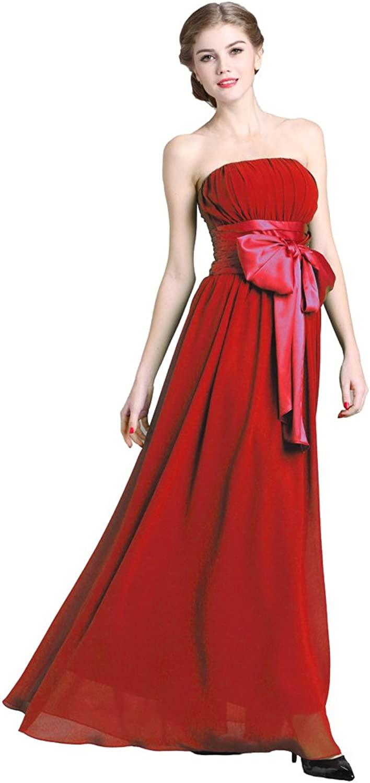 Denovelty Women's Strapless Empire Waist Bowknot Evening Party Maxi Long Dress