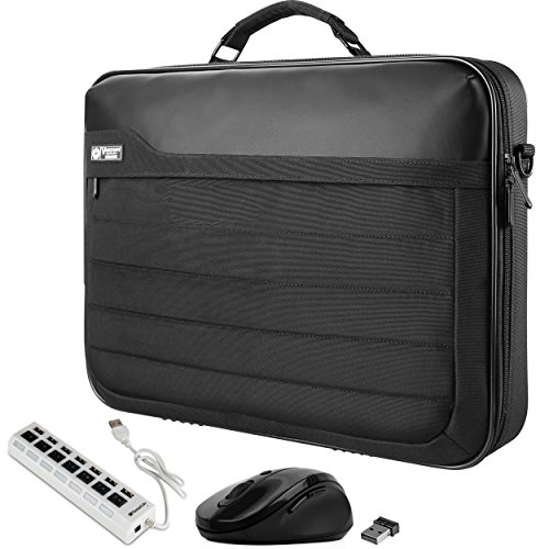 VanGoddy Executive Laptop Briefcase Bag with USB Hub & Mouse Suitable for Dell Inspiron 13 7373 7370, Latitude 13 7390 7380 7389 7370, XPS 13 9365 9360 9350