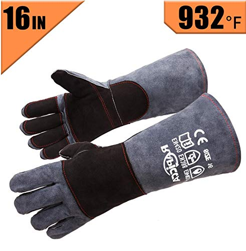 RAPICCA Leather Forge Welding Gloves Heat/Fire Resistant, Mitts for Oven/Grill/Fireplace/Furnace/Stove/Pot Holder/Tig Welder/Mig/BBQ/Animal handling glove with 16 inches Extra Long Sleeve – GreyBlack