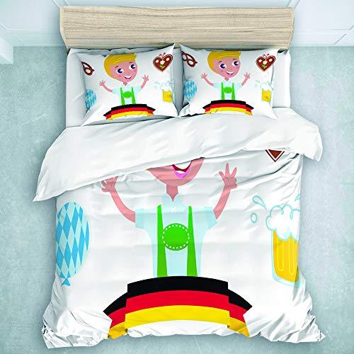 LOSUMIGE Bettwäsche-Set, Mikrofaser, Bayerischer Junge mit dem blonden Haar mit...