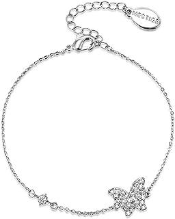 Mestige Women Brass Butterfly Lovers Chain Bracelet, 15.5 cm - PMBR1010