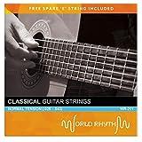 World Rhythm - Cuerdas de guitarra clásica de nailon de tensión normal con cuerda de repuesto alta e