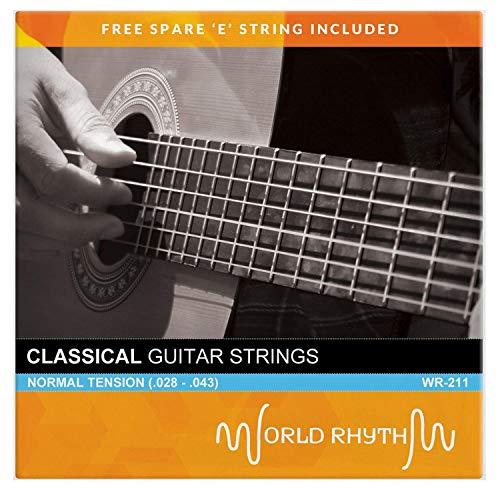 World Rhythm Corde per Chitarra Classica in Nylon a Tensione Normale con Corde di Ricambio