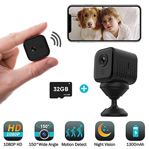 32GB Mini Hidden Spy Camera Wireless, JoyGeek 1080P HD WiFi Small Portable Indoor Home Security Camera Motion Sensor Surveillance Nanny Cam Night Vision 1300mAh Battery iOS Android APP Remote Viewing