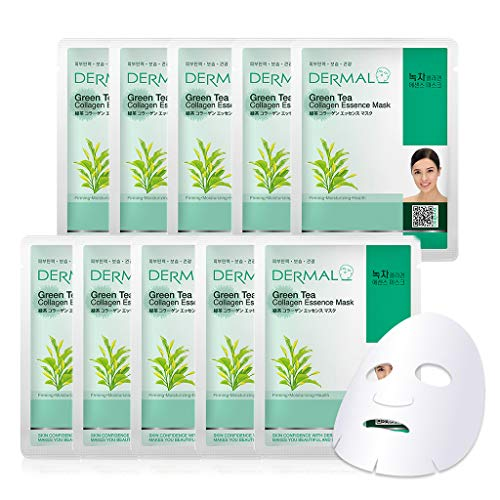 DERMAL Green Tea Collagen Essence Facial Mask Sheet 23g Pack of 10 - Hydrating and Soothing for Sensitive Oily Skin, Revitalize Dull Skin, Daily Skin...