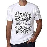 Hombre Camiseta Vintage T-Shirt Gráfico Doodle Art Bugaboo Blanco