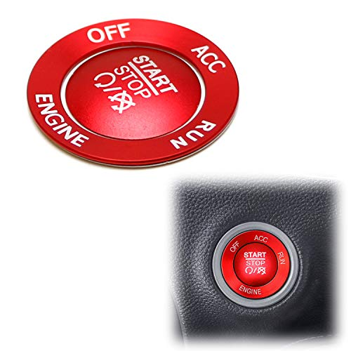 iJDMTOY Sports Red Aluminum Keyless Engine Push Start Button & Surrounding Ring Trim Compatible with Dodge Charger Challenger Durango Chrysler 300 Jeep Grand Cherokee