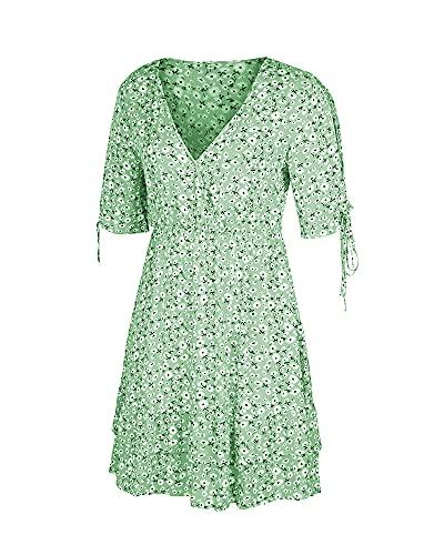 WANGSAURA Vestido maxi floral de manga corta para mujer, con cuello en V, bohemio, con volantes, para playa, vestido de verano, verde, X-Large