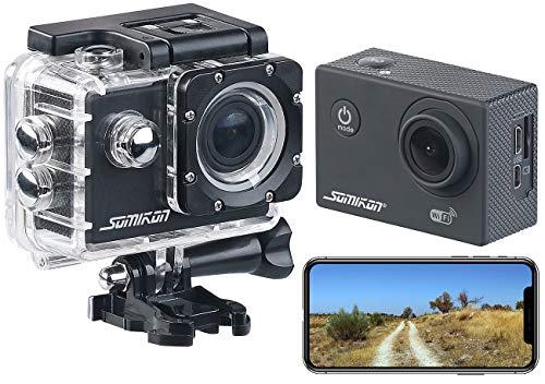 Somikon Action Kamera: UHD-Action-Cam DV-3717 mit WLAN, Marken-Bildsensor und App, IPX8 (Helmkamera)