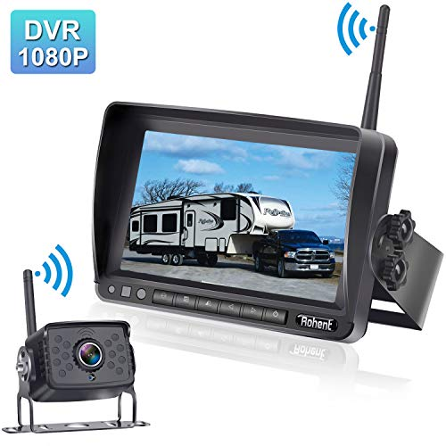 """Rohent FHD 1080P Digital Wireless Backup Camera with 7"""" DVR Monitor High-Speed Observation System for RVs/Trucks/Trailers/Fifth Wheel IP69K Waterproof Super Night Vision Guide Lines DIY backup Cameras Vehicle"""