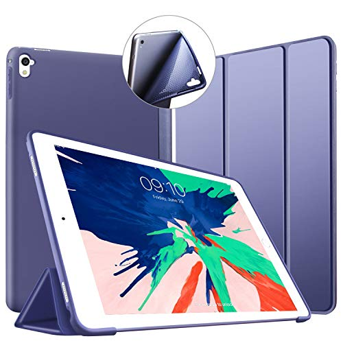 Case for iPad Pro 9.7, Ultra Slim Lightweight Shell Trifold Stand Protective Smart Case [Auto Sleep/Wake Function], Flexible Soft TPU Back Cover for Apple iPad Pro 9.7' 2016 Release Tablet, Navy Blue