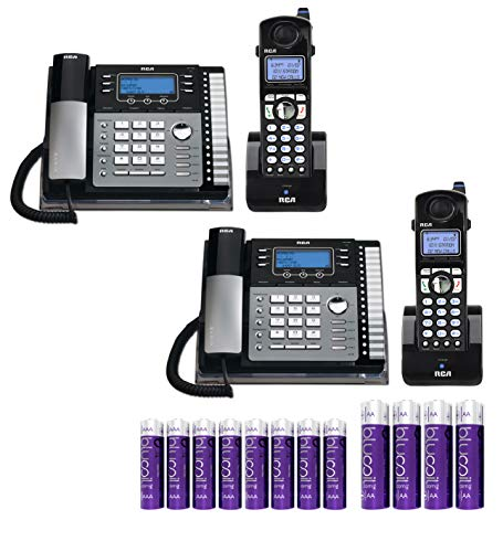 RCA 4-Line Expandable Telephone System 25424RE1 Desk Phone with Built-in Intercom (2-Pack) Bundle with 2-Pack of H5401RE1 Cordless Accessory Handsets, Blucoil 4 AA Batteries, and 8 AAA Batteries
