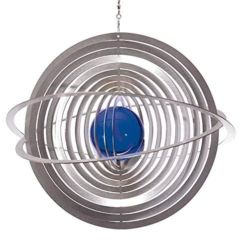 Illumino Edelstahl Windspiel Saturn mit kobaltblauer 50mm Glaskugel Metall Windspiel für Garten und Wohnung Gartendeko Wohn und Fenster Deko