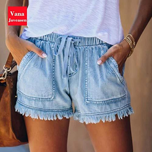 Elastic High Waist Schnür-Denim-Shorts Damen Jeans Quaste Design Short Streetwear Femme Short Mujer Pantalones M Hellblau