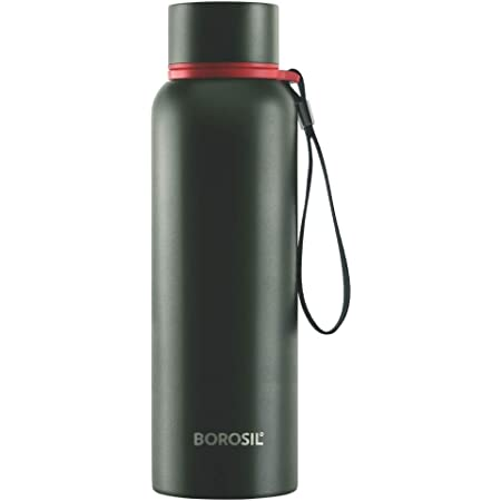 Borosil - Stainless Steel Hydra Trek - Vacuum Insulated Flask Water Bottle, 700 ML, Green