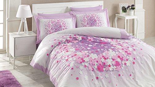 TI Home April Lilas Housse de couette, 100% pur coton Double Taille, 4 pièces Parure de lit de luxe