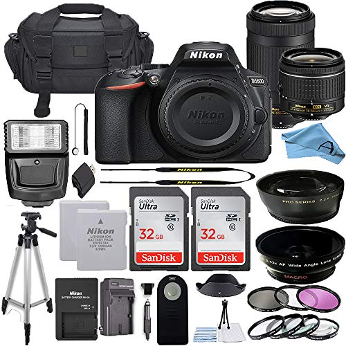 Nikon D5600 DSLR Camera with 18-55mm VR and 70-300mm Lenses + 32GB Card, Tripod, Flash, and More (23pc A-Cell Bundle) (70-300MM + 18-55MM + 32GB)