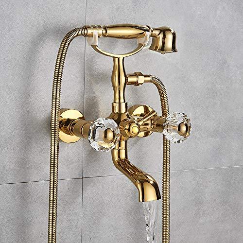 Luxus Golden Polish Badewanne Wasserhahn Mixer Tap Telefon Stil mit Sprayer Handbrause Drehen Sie die Auslaufwanne heißes und kaltes Wasser