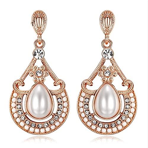 KINGVON KINGVON Pendientes exagerados de moda de perlas Boho Beach Pendientes de aleación de gotas de agua largas y delicadas simples para cumpleaños, Oro