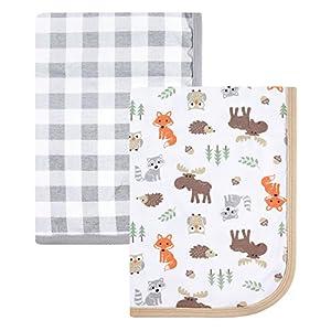 Hudson Baby Unisex Baby Cotton Swaddle Blankets, Woodland, One Size