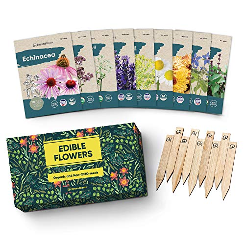 100% Edible Flower Seeds for Planting - Certified Organic Seeds - 9...