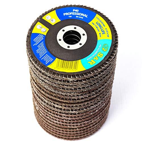 S&R 20 Disco de Láminas 115 mm para Madera y Metal. 5 discos cada grano : P40/60/80/120. Disco abrasivos para amoladora angular