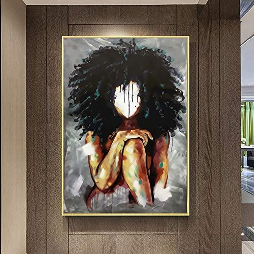 wZUN Astratta Donna Nera Africana con Soffici Capelli su Tela Dipinto Poster e Stampa Foto di Arte della Parete per la Decorazione del Soggiorno 60X90 Senza Cornice